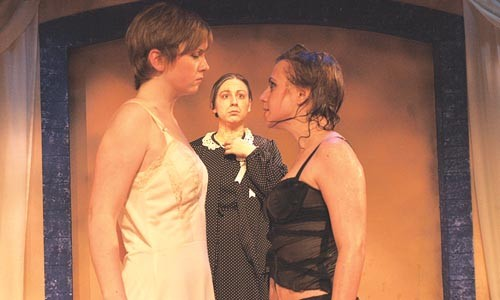 Oh, Mee: Kaitlyn Wittig, Lauren Ann Diesch and Brittany Andrews in Pitt's Big Love. Photo courtesy of Stephen Grebinski.