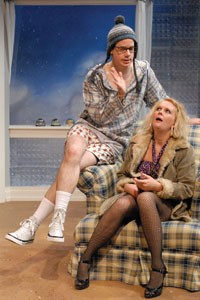 Oh, my family's crazy, too: Andy Rebensteine (left) and Tami Dixon in Playhouse REP's The Chicken Snake. - PHOTO COURTESY OF THE PITTSBURGH PLAYHOUSE.