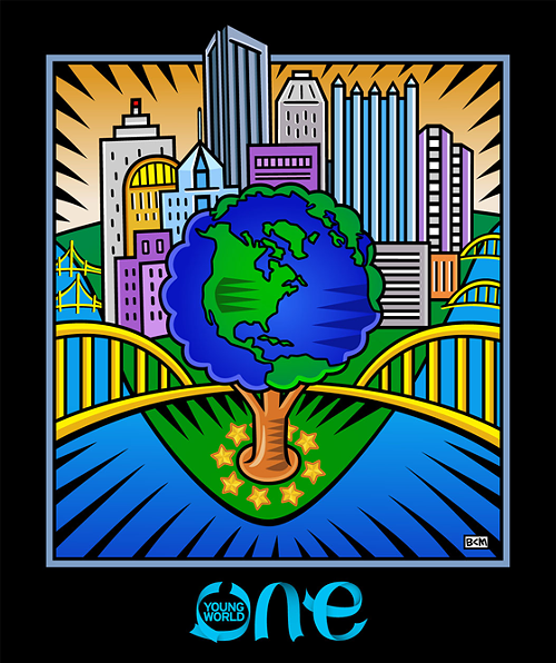 Original artwork for One Young World donated by Pittsburgh artist Burton Morris