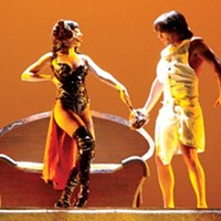 Out of light bondage: Alexa Glover (left) and David Toole in Pittsburgh Musical Theater's <i>Joseph and the Amazing Technicolor Dreamcoat</i>