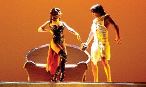 Out of light bondage: Alexa Glover (left) and David Toole in Pittsburgh Musical Theater's Joseph and the Amazing Technicolor Dreamcoat - COURTESY OF PATTI BRAHIM