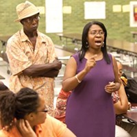Parent Donna Simms-Key sounds off at a July 20 community meeting about the Pittsburgh School District's plans to close and consolidate several schools in the area.