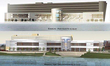 Parking parallels: Opponents of a planned casino parking-garage design cite the upper artists rendering, its proponents the lower. Images courtesy of Strada LLC