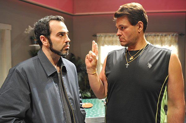 Patrick Jordan (left) and Leandro Cano in barebones' The Motherfucker With the Hat.
