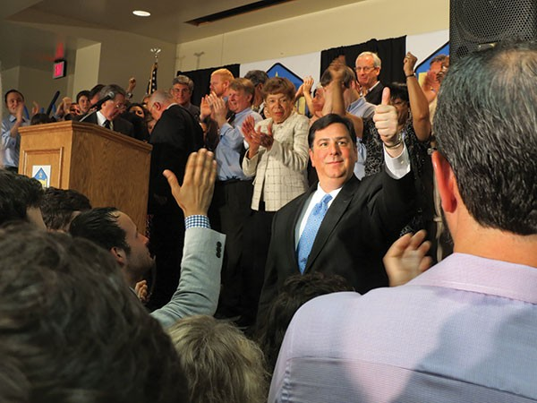 Peduto celebrates with his supporters at his Election Night victory party, held at the Pittsburgh Federation of Teachers headquarters on the South Side.