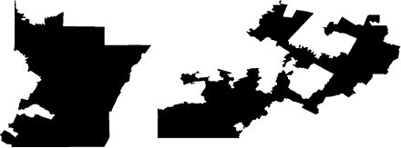 Pennsylvania's 12th district before (l) and after (r) the last Census. The district may disappear entirely next year. Courtesy Democracy Rising.