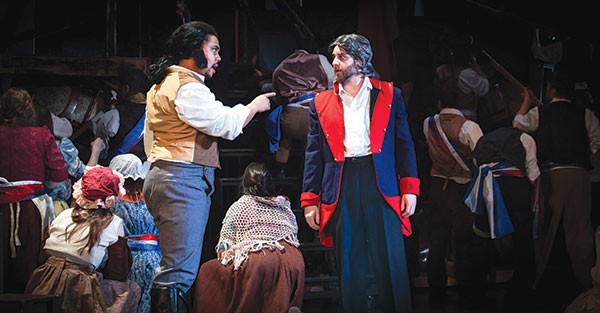 Peter Matthew Smith (left) and Brady Patsy in Pittsburgh Musical Theater's Les Misérables.