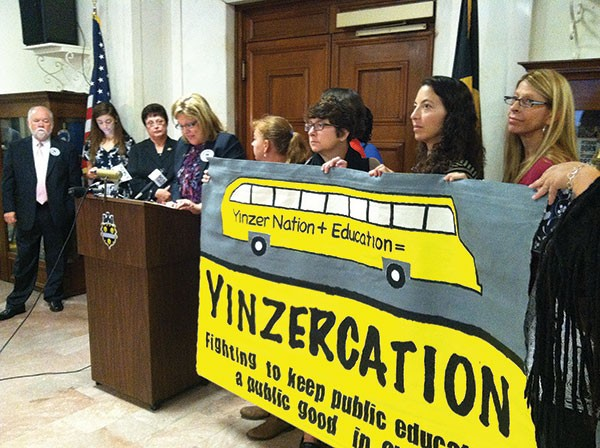PFT President Nina Esposito-Visgitis speaks at a press conference supporting the city council resolution.