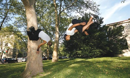 Phillips (left), does a spin-move on a tree, while Joe Thompson executes a standing flip. - HEATHER MULL
