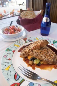 Photo cap: Wasabi-crusted Ahi tuna in soy glaze over fresh fruit salsa