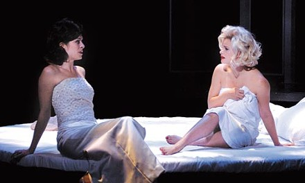 Pillow talk: Gretchen Egolf (left) and Heather Tom in The Secret Letters of Jackie and Marilyn, at Pittsburgh Public Theater