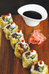 Pineapple-soy ahi tuna and jicama maki rolls with pistachio dust - HEATHER MULL