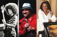 Pitt Jazz Seminar artists Esperanza Spalding, Joe Lovano, Pitt jazz-studies director Geri Allen