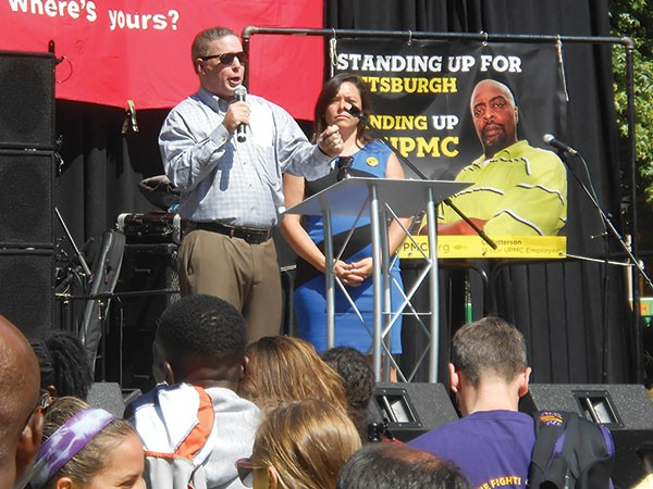 Pittsburgh City Controller Michael Lamb and Allegheny County Controller Chelsa Wagner at protest UPMC