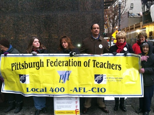 Pittsburgh teachers were the first to arrive outside Gov. Corbetts office