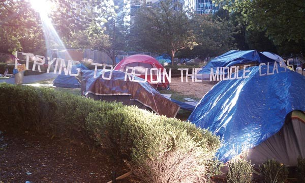 Pittsburghers occupying Mellon Green - PHOTO BY LAUREN DALEY
