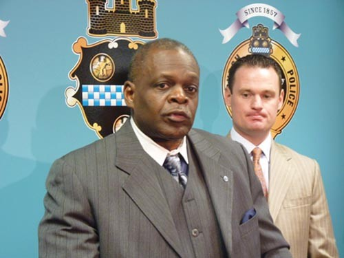 Police Chief Nate Harper, pictured with Mayor Luke Ravenstahl, has seen his relationship with the city's black community strained in recent years. - PHOTO BY LAUREN DALEY