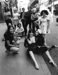 "Pork in London, 1971 (Cherry Vanilla, center -- ""of course, baring my tits."") - DAVID BAILEY"