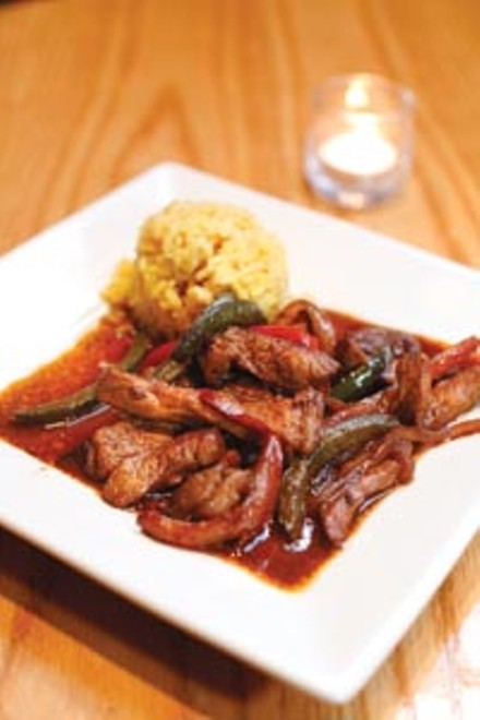Pork marinated in a traditional Spanish style, with paprike, garlic and olive oil. - HEATHER MULL