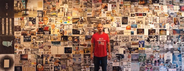 """Portrait of the artist with 'The Beast'"": Will Steacy poses with his collage."