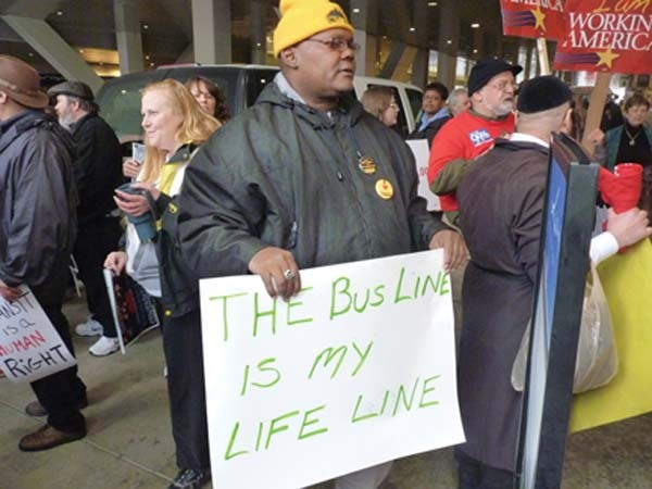Protesting transit cuts - PHOTO BY LAUREN DALEY