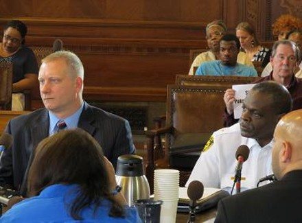 Public Safety Director Michael Huss (l) and police chief Nate Harper (r) speaking before council June 15 - CHRIS YOUNG