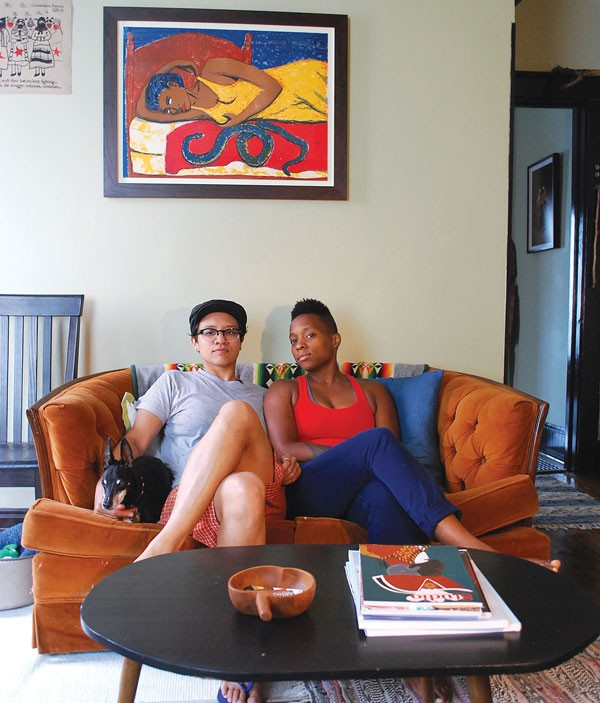 Raquel Rodriguez, left, and Ayanah Moor create their podcast in their Highland Park living room.