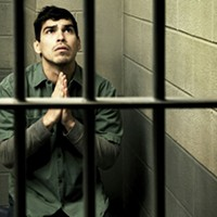 Raul Castillo in barebones productions' <i>Jesus Hopped the A Train</i>.