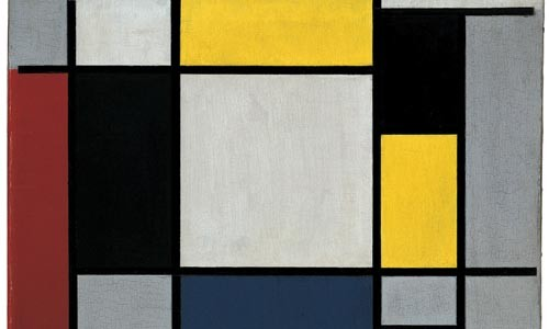 "Rectilinear distillation: Piet Mondrian's ""Composition with Yellow, Red, Black, Blue and Grey"" (1920). - 2008 MONDRIAN/HOLTZMAN TRUST C/O HCR INTERNATIONAL VIRGINIA."
