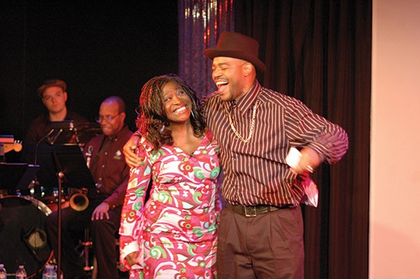 """Renn Woods and Leslie """"Ezra"""" Smith in Sold, at Pittsburgh Playwrights."""