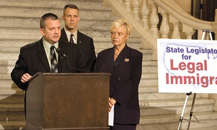 "Rep. Daryl Metcalfe (at podium) fronts the coalition, ""State Legislators for Legal Immigration."" - PHOTO BY HEATHER MULL"