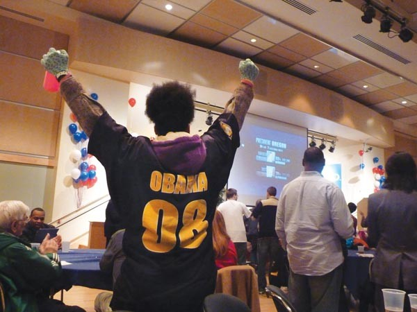 Revelers at Obama for America's Pittsburgh Election Night party