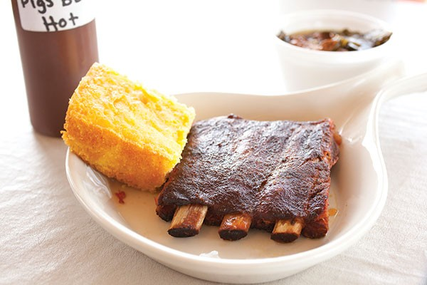 Rib Tickler with cornbread and collard greens