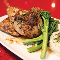 Roasted half chicken with broccolini and herb risotto