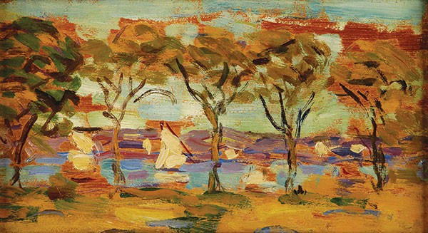 """Rockland Lake,"" by Maurice Brazil Prendergast, from Odyssey at Frick Art & Historical Center. - COURTESY OF THE WARNER FOUNDATION ON DISPLAY AT THE WESTERVELT WARNER MUSEUM OF AMERICAN ART"
