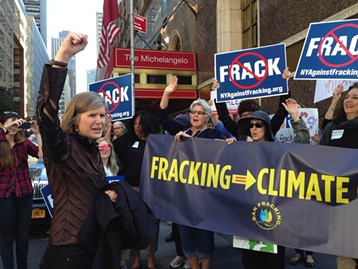 Sandra Steingraber (at left) at a September 2014 protest against fracking - PHOTO COURTESY OF UNIVERSITY OF PITTSBURGH'S GENDER, SEXUALITY, & WOMEN'S STUDIES PROGRAM