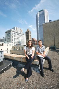 Sara Madden and Joel Perkovich have some green ideas for the roof of the City-County Building. - HEATHER MULL