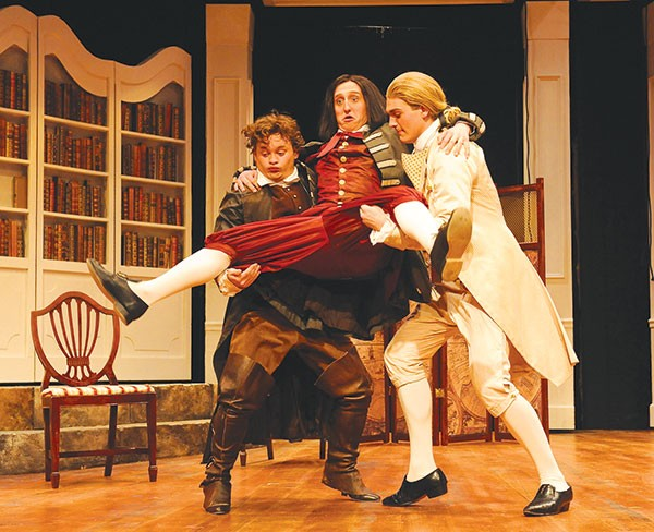 Scandalized (from left to right): Tom Driscoll, Joe Rittenhouse and Stanley Graham in School for Scandal, at Point Park's Conservatory Theatre Company