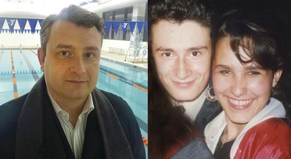 Schenley graduate Edward Alexei, who competed on the school's swim team, was inspired to save the school when informed of its pending sale by Pittsburgh Stingrays coach Hosea Holder. On the right, Alexei is pictured with Liz Berlin in 1988 at Schenley High School. The close friends are hoping to save their former high school from falling into the hands of developers.
