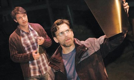 Sea changes: Brett Mack (left) and James Lloyd Reynolds in City Theatre's The Muckle Man. Photo by John Schisler.