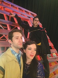 Sean Cooper (in rear), Rachel Eve Holmes and Adam Hill in The Fantasticks, at SummerFest