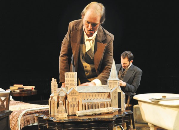 Sean Sears (foreground) and Justin Fortunato in The Elephant Man, at Prime Stage.