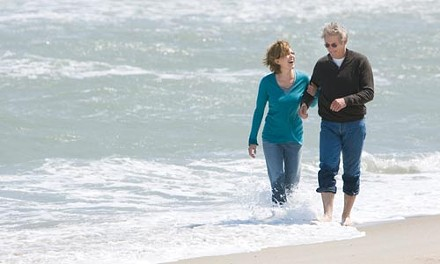 See? Sure: Diane Lane (left) and Richard Gere wade.