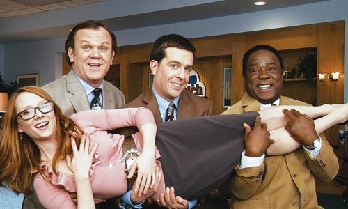 Selling insurance is fun! From left, Anne Heche, John C. Reilly, Ed Helms and Isiah Whitlock Jr.