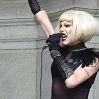 "Sharon needles performing outside City Council on ""Sharon Needles Day"""