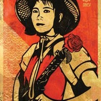 "Shepard Fairey's 2005 ""Obey Revolution Girl."""