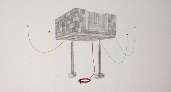 Sketch of a collaborative installation by Jeremy Boyle and Mark Franchino