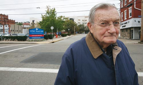 South Sider Larry Pergzola is petitioning to keep UPMC South Side open. - HEATHER MULL