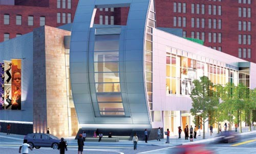 Street smart: a view of the August Wilson Center from Liberty Avenue.