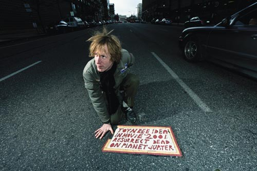 Streetwise: Justin Duerr poses with his obsession, a Toynbee tile.